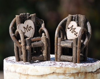 Rustic Cake Toppers~ Grapevine Twig Chairs~Vineyard~Woodland~Rustic~Cottage Wedding~ Rustic Chic~ Burned/Engraved Mr. & Mrs. Cake toppers