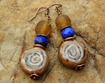 Porcelain Glass Bead Dangling Earrings