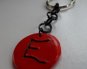 Red Intial E Keychain