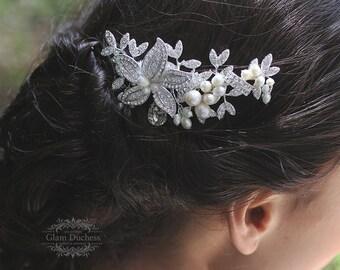 Bridal comb, Wedding hair accessory, Bridal hair comb, Ivory Pearl comb, Swarovski crystal comb, bridal headpiece, bridal hair accessory