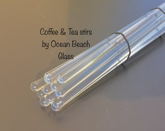 10pc clear glass Drink Stir Sticks Kitchen Housewares set by OceanBeachGlass SALE