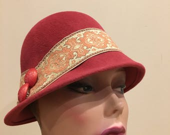 Hand blocked pink cloche