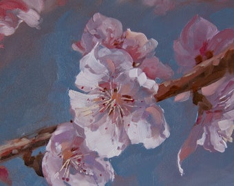 Peach Blossoms, 6x6, original oil