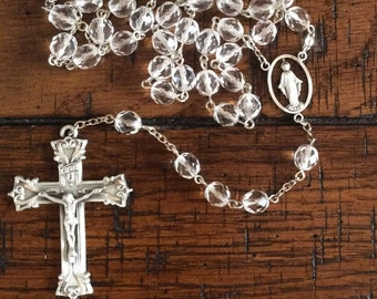 FIRE POLISHED CRYSTAL Rosary with Pewter Crucifix and Centerpiece