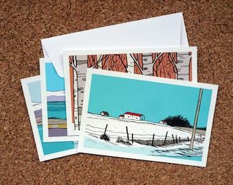 """Lot de 8 cartes de vœux """"Snow Mix + Islande"""" // 82 x 128 mm"""