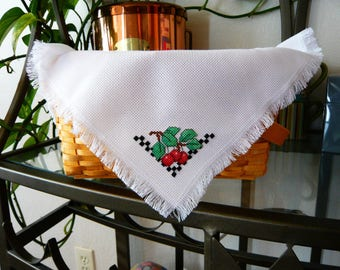 Fresh Cherries Cross Stitched Basket Liner -  Bread Cloth - gift basket accessory - shelf accent