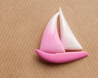 Sailboat Brooch Pink Vintage Pin