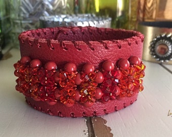 Red Leather cuff bracelet, Swarovski Crystal, Swarovski Pearls,