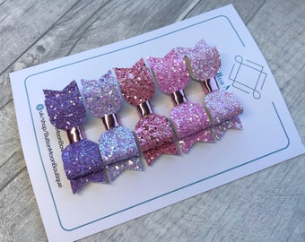 Handmade, Glitter hair bows, pink hair bows, fringe clips, girls hair bows, small hair bows, set of hair bows, toddler hair bows, hair clips