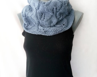 Snood scarf for women Wool gray snood Chunky knit grey scarf Infinity scarf Chunky knit snood Cowl knit scarf Hand knit cowl warm tube scarf