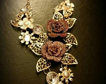 After Life Accessories Pink Flowers in Gold Paradise Necklace