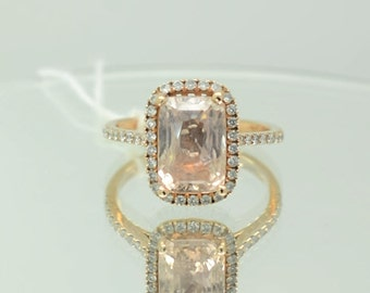 A 5 carat certified unheated Peach champagne Sapphire ring, Diamond ring 14k rose gold ring, Fine jewelry engagement ring