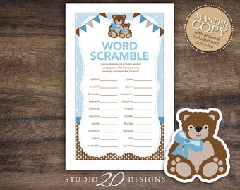 Instant Download Teddy Bear Baby Shower Word Scramble Game, Printable Teddy Word Scramble, Blue Brown Teddy Theme Baby Shower Game 42A
