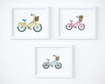 Beach Cruiser Set of 3 - Art Print, Nursery Art, Kid's Room Decor, Art for Kids Spaces