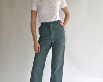Vintage 24 25 26 27 28 29 30 High Waist Teal Cotton Twill Chinos | Wide Leg Crop Utility Pant Trouser | Sailor Pant Green SEE SIZE RANGE
