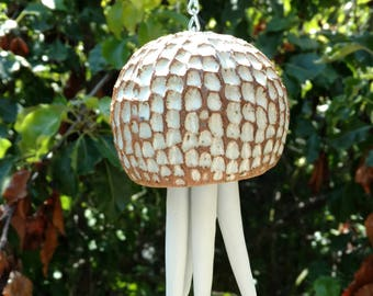Ceramic Wind Chimes white, porcelain Jellyfish hanging sculpture. Fun Beach house, garden art gift. Limited edition ceramic sculpture OOAK