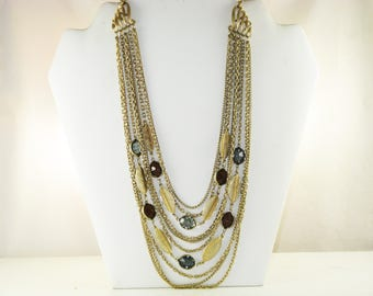 Vintage Amber and Smokey Gray Crystal Multichain Windowpane Necklace (N-2-1)