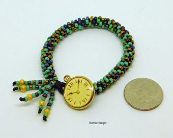 Watch Face Button Turquoise Bead Bracelet