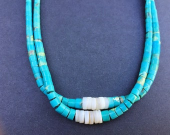 Turquoise Coral Santo Domingo White Clam Shell Jocla Necklace Signed RC