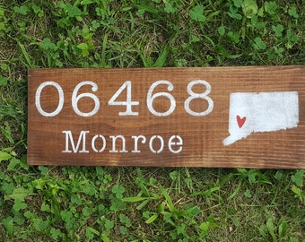 Personalized Sign, Custom Sign, Custom Wood Signs, Farmhouse Decor, Zip Code Sign, Rustic Decor, Housewarming Gift, New Home Gift