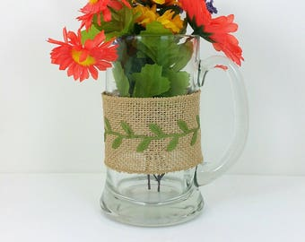 Burlap glass mug yellow and orange flowers with green leaf trim 109