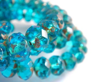 10 Czech Bead Capri Blue Picasso Transparent Glass Faceted Abacus Rondelle 8x6mm 1mm hole - 10 pc - G6041-CP10
