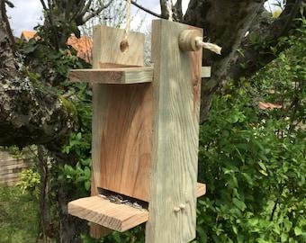 Bird feeder seed handmade wooden rustic