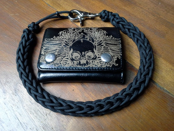 Black handcrafted 550 paracord wallet chain lanyard black for How to make a paracord wallet chain