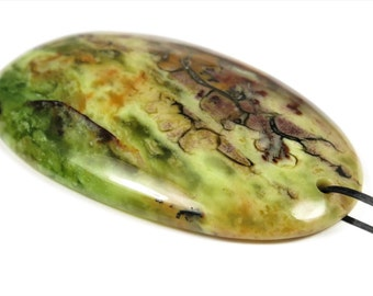 Beautiful African Green Opal Pendant - 52mm x 32mm x 7mm - B5908