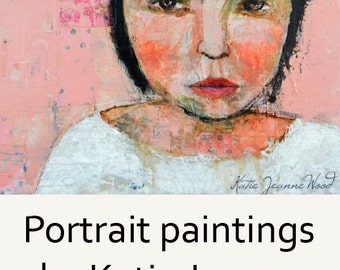 Acrylic Woman Portrait Painting. Mixed Media Collage Art. Palette Knife Painting. Pink & White Tiny Room