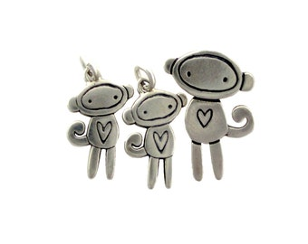 Two Kids Family Necklace - Three Charm Set - Choose Any Family Set