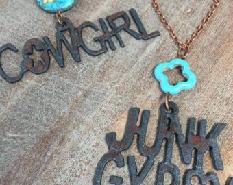 Junk Gypsy/Cowgirl Red Copper metal and Turquoise Necklace