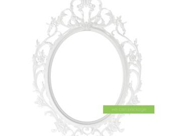 WHITE Antique Picture Frame Baroque Oval Ornate Vintage Frame