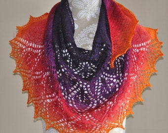 Hand Knit Delicate Lace Shawl with Beads, Whirlwind Romance Shawl,  Hearts and Beads, Rainbow Colors