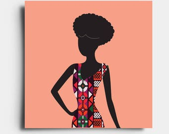 African Print Lady - Greetings Card - Peach