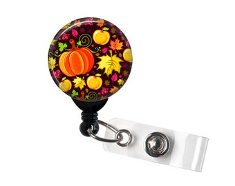 Autumn Celebration, Retractable ID Badge Reel, Thanksgiving, Fall print