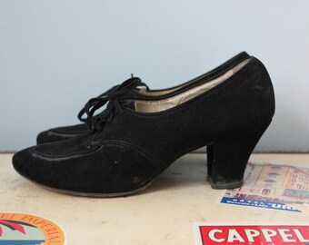 1930s Black Suede Lace up heels