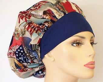 Bouffant Scrub Hat Victorian Patriotic Children Flags and Garlands Red White and Blue