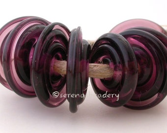 PURPLE BLUE Wavy Disks Lampwork Glass Beads- taneres - 14 mm - glass disc bead - purple lampwork bead, purple glass disc