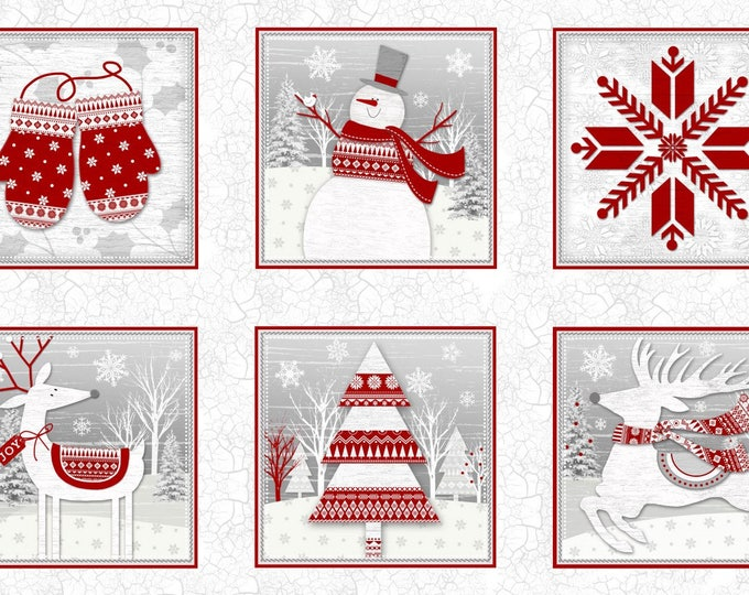 CHRISTMAS HOLIDAY FABRIC,  Frosty Folks Panel 44 x 25 inches by Jan Shade Beach for Henry Glass & Co