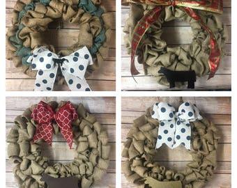 Burlap Steer Wreath | Handmade Livestock Wreath