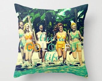 Vintage Beach Pillow Covers 18x18, Summer Decor Pillows, Beach Pillows, Beach Babes, Summer Pillows, Beach Bedroom Throw Pillows, Beach Home