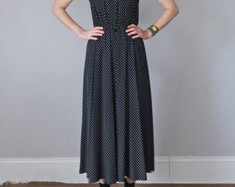 90s dress / black & white polka dot midi maxi rayon sleeveless sundress (xs - s)
