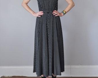 90s dress / black & white polka dot midi maxi rayon sleeveless sundress (xs - s)