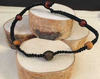 Hemp and wood Buddha choker