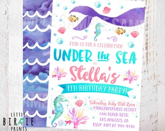 MERMAID BIRTHDAY INVITATION Mermaid invitation Watercolor Mermaid invitation Mermaid first birthday invitation Pool Party Under the Sea