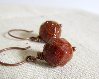 Gold Stone Earrings, Copper Glitter Earrings, Goldstone, Antiqued Copper Hoop Earrings, Wire Wrapped, Everyday Wear, Festive Holiday Earring