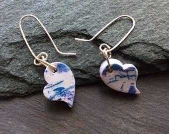 Heart shaped drop earrings - Polymer clay earrings - Batik look