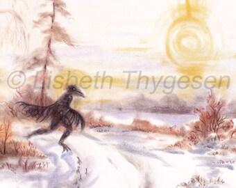 """Original Art: """"Raven Wanderer"""". Raven, spirit, spirit animal, Nordic, Scandinavian, Shamanic, spiritual, magical, magic, realism, winter"""