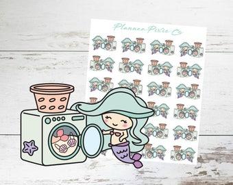 Mermaid Planner Stickers // Laundry // Housework // 005